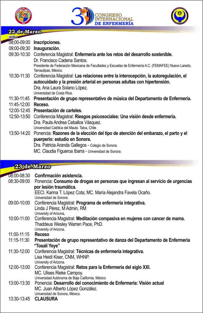 Programa del 3er. Congreso Internacional de Enfermería